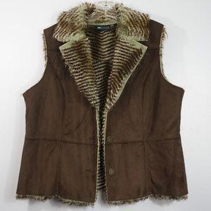 Relativity Faux Suede Faux Fur Brown Vest